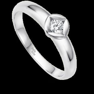 Verlobungsring Weißgold mit Zargenfassung in Rautenform